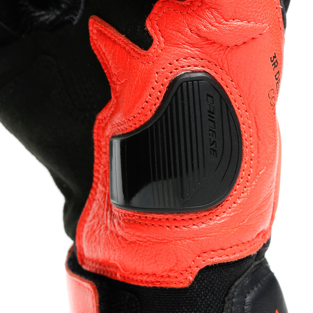 CARBON 3 SHORT GLOVES BLACK/FLUO-RED- Leather
