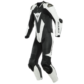LAGUNA SECA 5 1PC LEATHER SUIT PERF. S/T BLACK/WHITE