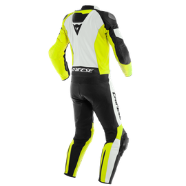 MISTEL 2PCS LEATHER SUIT WHITE/FLUO-YELLOW/BLACK- Leather Suits