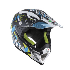 AX-8 EVO E2205 MULTI - NOFOOT MATT WHITE/CYAN - Full-face