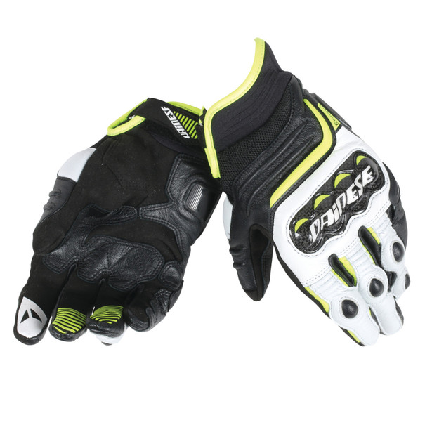 CARBON D1 SHORT GLOVES BLACK/WHITE/FLUO-YELLOW- Leder