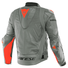 SUPER RACE LEATHER JACKET CHARCOAL-GRAY/CH.-GRAY/FLUO-RED- Pelle