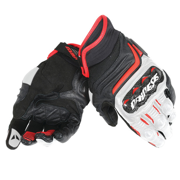 CARBON D1 SHORT GLOVES BLACK/WHITE/LAVA-RED- Leder