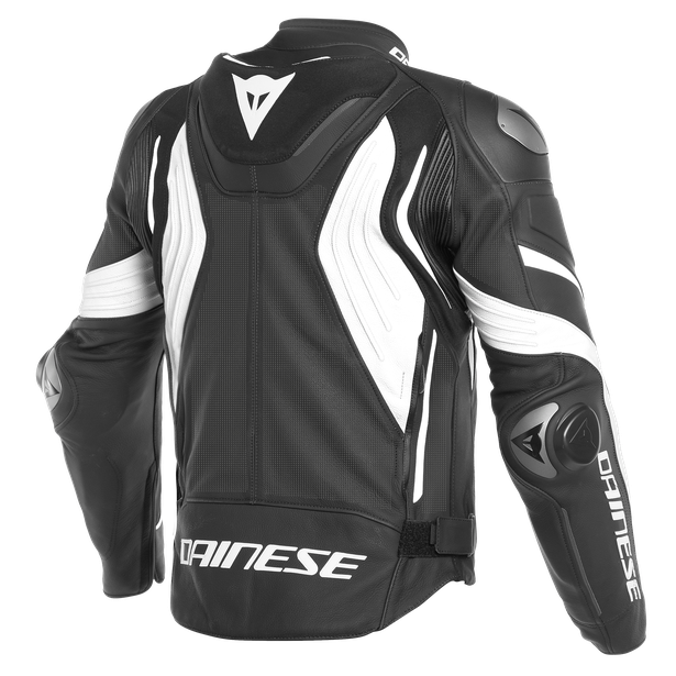 SUPER SPEED 3 PERF. LEATHER JACKET BLACK/WHITE/WHITE- Leder