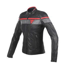BLACKJACK LADY LEATHER JACKET BLACK/GREY/RED