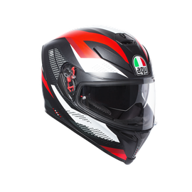 K-5 S AGV E2205 MULTI PLK - MARBLE MATT BLACK/WHITE/RED - Full-face