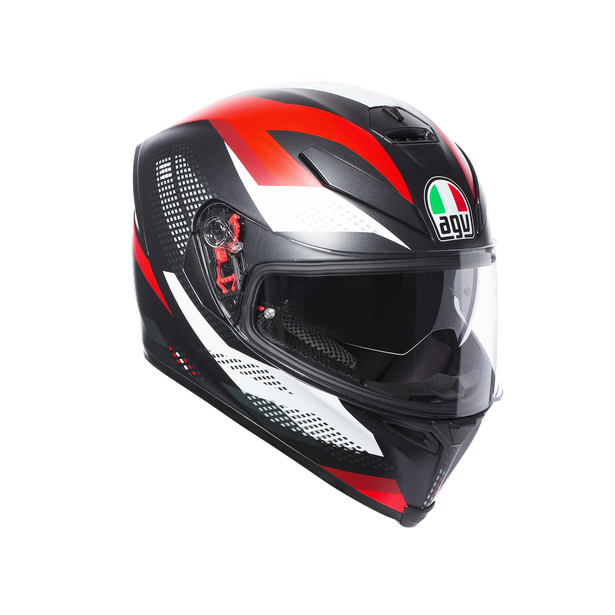 K-5 S AGV E2205 MULTI PLK - MARBLE MATT BLACK/WHITE/RED - Full Face