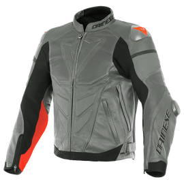SUPER RACE PERF. LEATHER JACKET CHARCOAL-GRAY/CH.-GRAY/FLUO-RED- Pelle