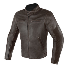 STRIPES D1 PERFORATED LEATHER JACKET  DARK-BROWN/DARK-BROWN