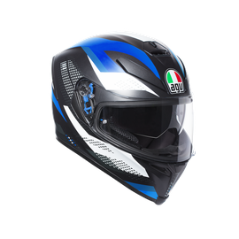 K-5 S AGV E2205 MULTI PLK - MARBLE MATT BLACK/WHITE/BLUE - Full-face
