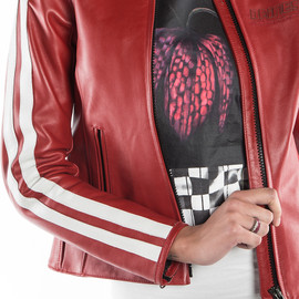 FRECCIA72 LADY LEATHER JACKET RED/WHITE-S- Motorbike