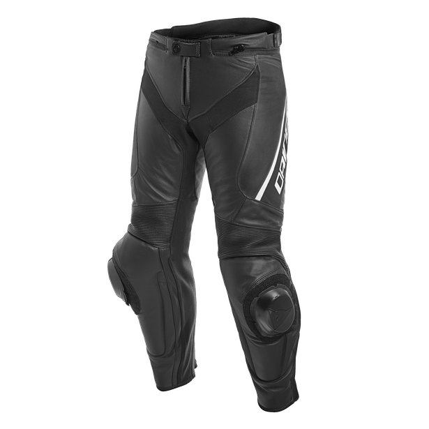 DELTA 3 PERF. LEATHER PANTS BLACK/BLACK/WHITE- Pelle