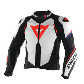 SUPER SPEED D1 LEATHER JACKET WHITE/BLACK/FLUO-RED- Jackets