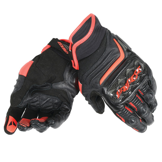 CARBON D1 SHORT GLOVES BLACK/BLACK/FLUO-RED- Leder