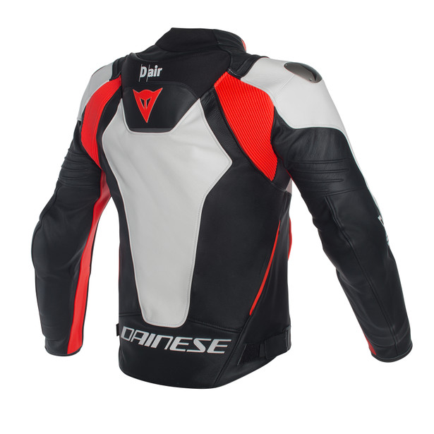 Misano D-air® jacket WHITE/BLACK/RED-FLUO- Leather
