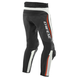 ALPHA LEATHER PANTS WHITE/BLACK/FLUO-RED- Leder