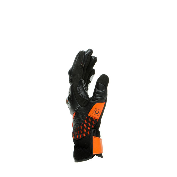 CARBON 3 SHORT GLOVES BLACK/WHITE/FLAME-ORANGE- Pelle