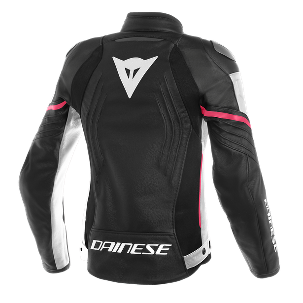 RACING 3 PERF. LADY LEATHER JACKET BLACK/WHITE/FUCHSIA- Pelle