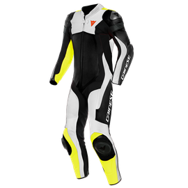 ASSEN 2 1 PC. PERF. LEATHER SUIT BLACK/WHITE/FLUO-YELLOW- Einteiler
