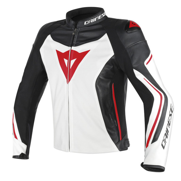 ASSEN PERFORATED LEATHER JACKET WHITE/BLACK/RED-LAVA- Leather