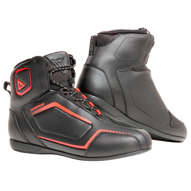 RAPTORS D-WP SHOES BLACK/BLACK/FLUO-RED- Leder