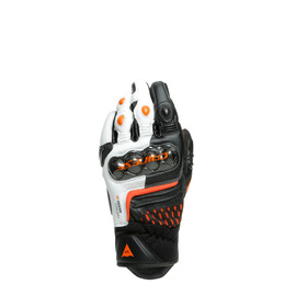 CARBON 3 SHORT GLOVES BLACK/WHITE/FLAME-ORANGE- Leather