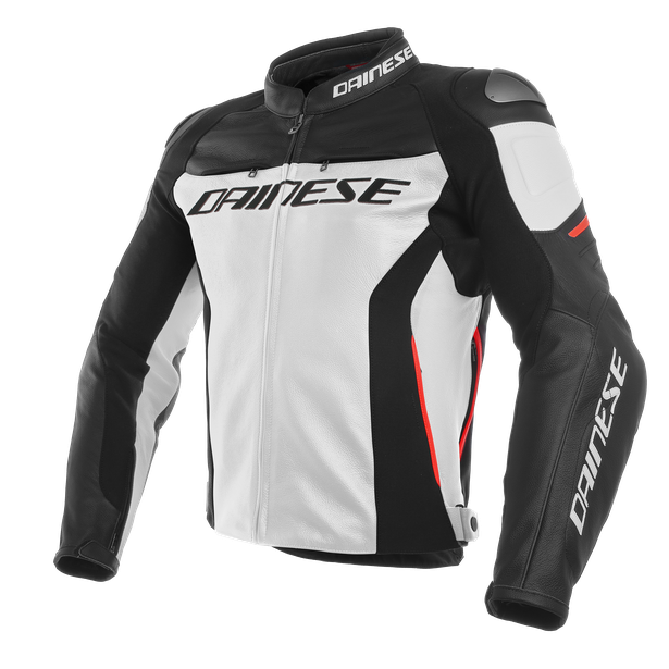 RACING 3 LEATHER JACKET WHITE/BLACK/RED- Leder