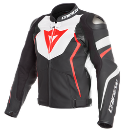 AVRO 4 LEATHER JACKET BLACK-MATT/WHITE/FLUO-RED- Leder