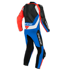 ASSEN 2 1 PC. PERF. LEATHER SUIT BLACK/LIGHT-BLUE/FLUO-RED- Professionali