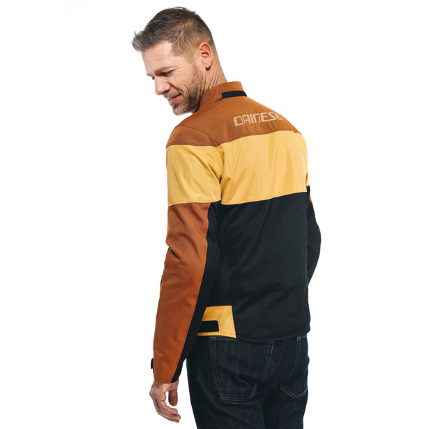ELETTRICA AIR TEX JACKET BLACK/LEATHER-BROWN/MINERAL-YELLOW- Textile