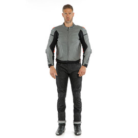 SUPER RACE LEATHER JACKET CHARCOAL-GRAY/CH.-GRAY/FLUO-RED- Cuir