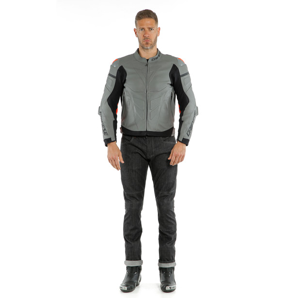 SUPER RACE LEATHER JACKET CHARCOAL-GRAY/CH.-GRAY/FLUO-RED- Jackets