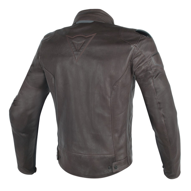 STREET DARKER PERFORATED LEATHER JACKET DARK-BROWN- Jackets