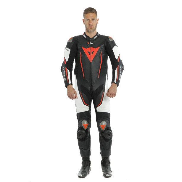 MISANO 2 D-AIR PERF. 1PC SUIT BLACK/WHITE/FLUO-RED- D-air