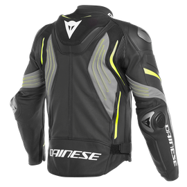 SUPER SPEED 3 PERF. LEATHER JACKET BLACK/MATT-GRAY/FLUO-YELLOW- Leather