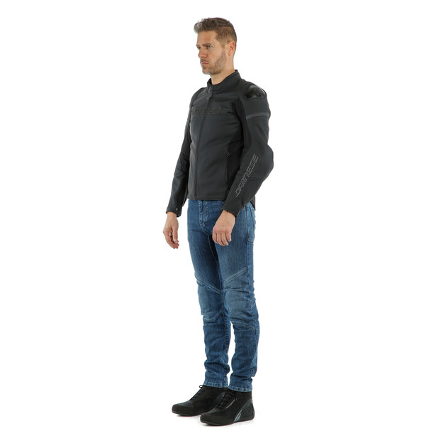 AGILE LEATHER JACKET BLACK-MATT/BLACK-MATT/BLACK-MATT- Piel