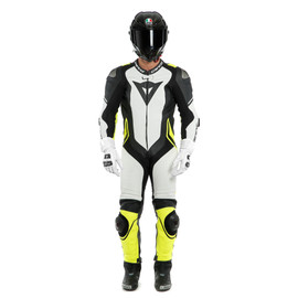 LAGUNA SECA 4 1PC PERF. LEATHER SUIT WHITE/BLACK/FLUO-YELLOW- Einteiler