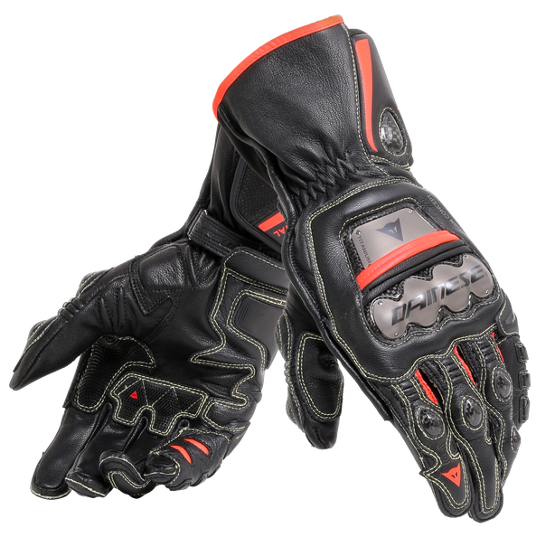 FULL METAL 6 GLOVES BLACK/BLACK/FLUO-RED- Leder