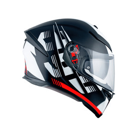 K5 S E2205 MULTI - DARKSTORM MATT BLACK/RED - Full-face