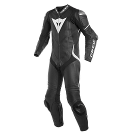 LAGUNA SECA 4 1PC S/T PERF. LEATHER SUIT BLACK/BLACK/WHITE- Professionali