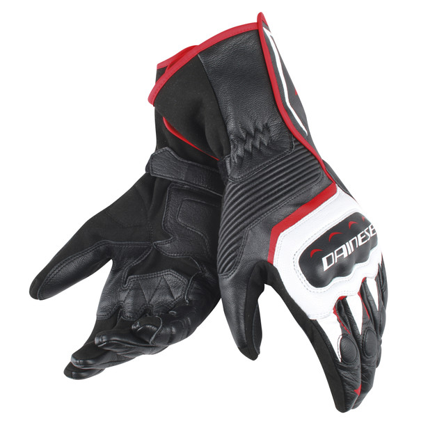 ASSEN GLOVES BLACK/WHITE/RED-LAVA- Leather