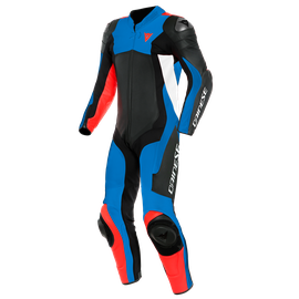 ASSEN 2 1 PC. PERF. LEATHER SUIT BLACK/LIGHT-BLUE/FLUO-RED