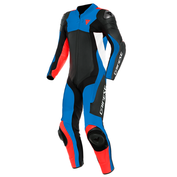 ASSEN 2 1 PC. PERF. LEATHER SUIT BLACK/LIGHT-BLUE/FLUO-RED- One Piece Suits
