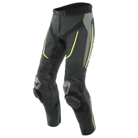 ALPHA PERF. LEATHER PANTS BLACK/MATT-GRAY/FLUO-YELLOW