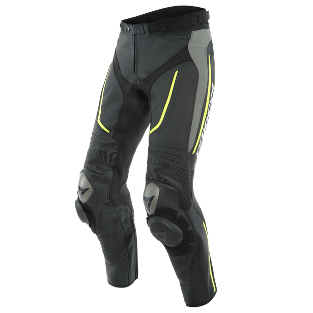 ALPHA PERF. LEATHER PANTS BLACK/MATT-GRAY/FLUO-YELLOW- Leather