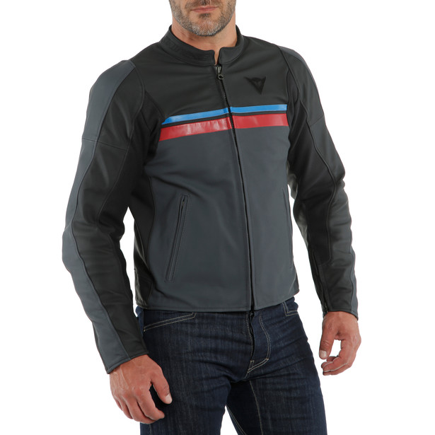 HF 3 LEATHER JACKET BLACK/EBONY/RED/BLUE- Cuir