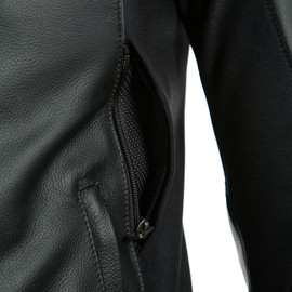 SPORT PRO LEATHER JACKET BLACK/WHITE- Pelle