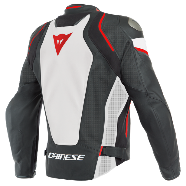 RACING 3 D-AIR PERF. LEATHER JACKET BLACK/WHITE/LAVA-RED- D-air