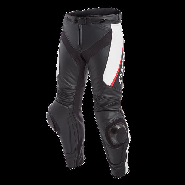 DELTA 3 SHORT/TALL LEATHER PANTS BLACK/WHITE/RED- Leder