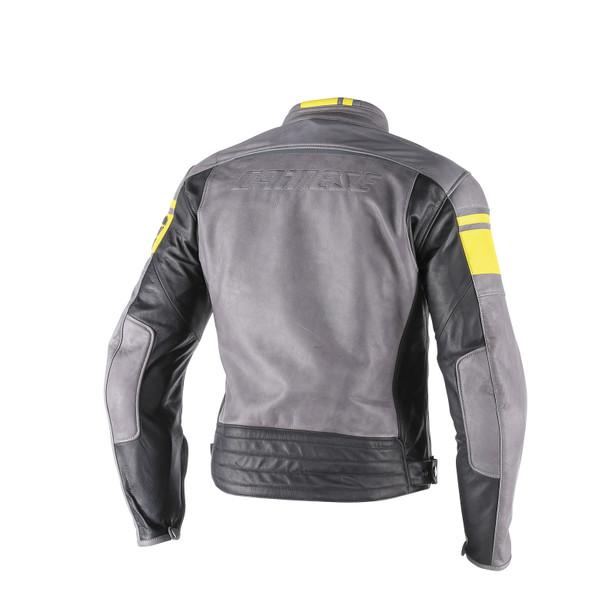 BLACKJACK LEATHER JACKET SMOKE/YELLOW/BLACK- Leather